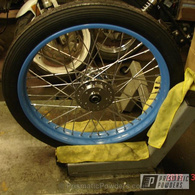 Powder Coating: Wheels,Custom,Blue wheels,Oh So Blue PSS-2965,powder coating,powder coated,Prismatic Powders,Dave's Bobber