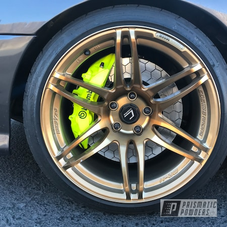 Powder Coating: Automotive,Brembo,Brake Calipers,Neon Yellow PSS-1104,Brembo Brakes,Brembo Caliper
