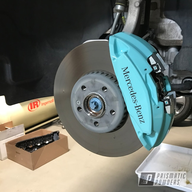 Powder Coating: Automotive,Brakes,Mercedes,Brake Calipers,RAL 6027 Light Green