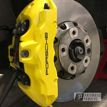 Powder Coated Yellow Custom Porsche Brake Caliper