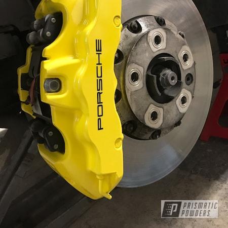Powder Coating: Automotive,Brakes,Brake Calipers,Porsche,Electric Yellow PSS-2834,Custom Brake Calipers