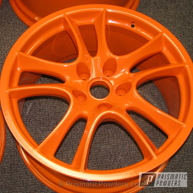 Powder Coating: Wheels,Custom,Porsche Wheels,powder coating,powder coated,Prismatic Powders,International Orange PSS-2779,Orange Wheels