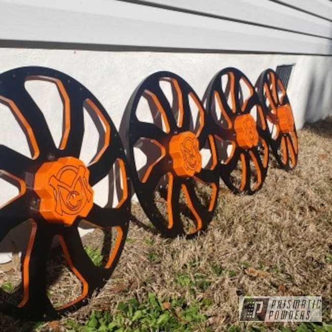 Powder Coating: Wheels,Automotive,BLACK JACK USS-1522,Polaris Wheels,Polaris,Just Orange PSS-4045,RZR