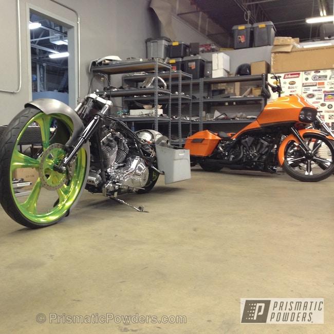 "Powder Coating: Custom,LikeABoss,Yellow,powder coating,powder coated,Prismatic Powders,Glowing Yellow PPB-4759,Motorcycles,10 feet long 30"" front wheel Harley RK"