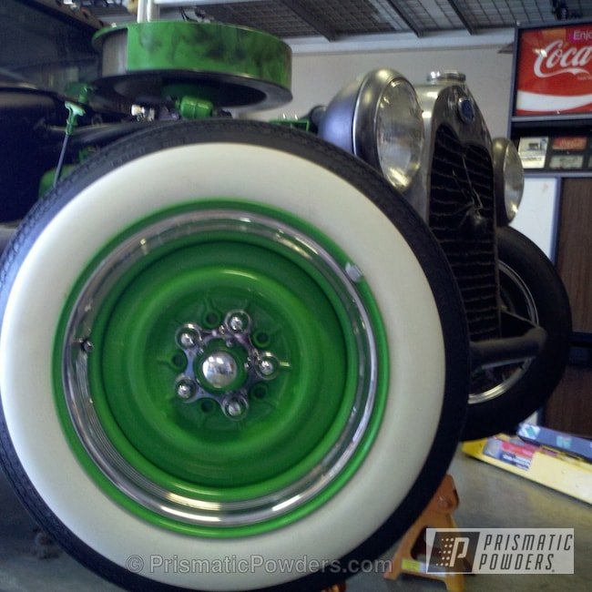 "Powder Coating: Custom,Automotive,powder coating,powder coated,green wheels,Prismatic Powders,Tacate Green PSS-0116,1931 Ford Model A ""Rat Rod"" Wheels & Sterring Arm"