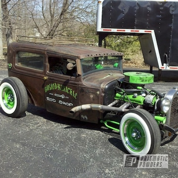 Antique Automobile Accents Coated In Our Tacate Green Powder Coat