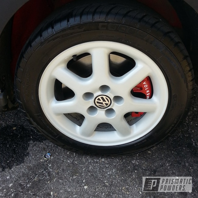 Powder Coating: Wheels,1996 VW Jetta GLX,White Silver Plus PMB-4823