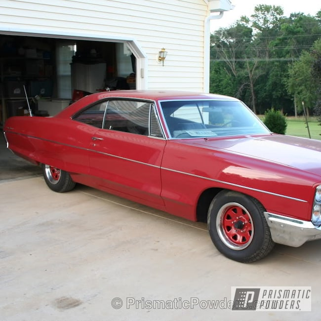 Powder Coating: Wheels,Clear Vision PPS-2974,Custom Wheels,Vampire Red PSS-3013,powder coating,Powder Coated Wheels,powder coated,Prismatic Powders,66 Pontiac dark red 66 Ventura Wheels