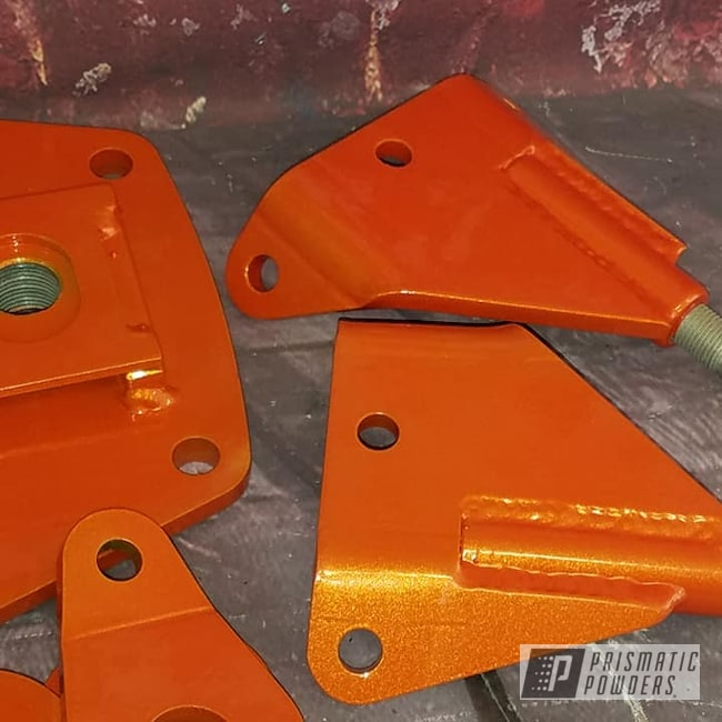 Powder Coating: Automotive,Clear Vision PPS-2974,Illusion Orange,Illusion Orange PMS-4620,Automotive Parts,brackets