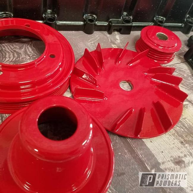 Powder Coating: Automotive,2 Color Application,BLACK JACK USS-1522,Porsche,RAL 3002 Carmine Red,Valve Cover,Automotive Parts