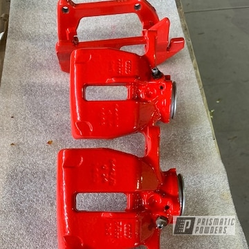 Powder Coated Red Brake Calipers In Pss-5082