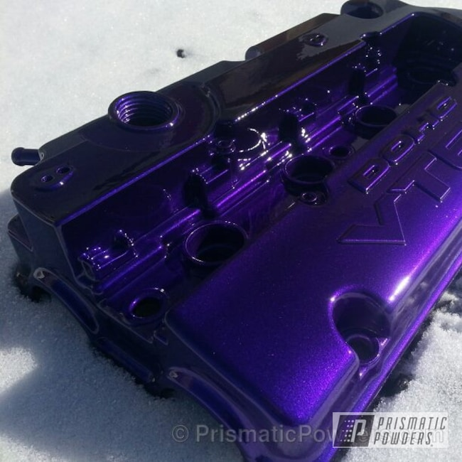 Powder Coating: Custom,Automotive,powder coating,powder coated,Prismatic Powders,Alien Silver PMS-2569,purple,Valve Cover,Candy Purple PPS-4442