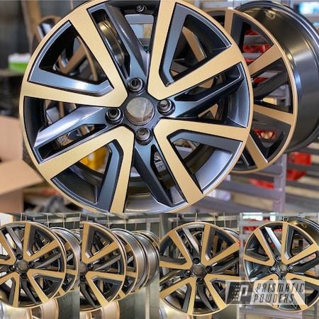 "Powder Coating: Wheels,FORGED CHARCOAL UMB-6578,Automotive,16"" Wheels,Aluminium Wheels,mii,Two Color Application,Seat,Prismatic Gold HMB-4137"