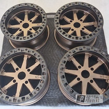 Powder Coated Custom Polaris Rzr Wheels In Uss-1522 And Pmb-2808
