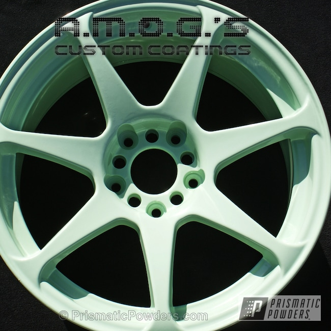 Powder Coating: Wheels,Custom,powder coating,powder coated,Prismatic Powders,Light green wheels,Mint Green PSB-6473