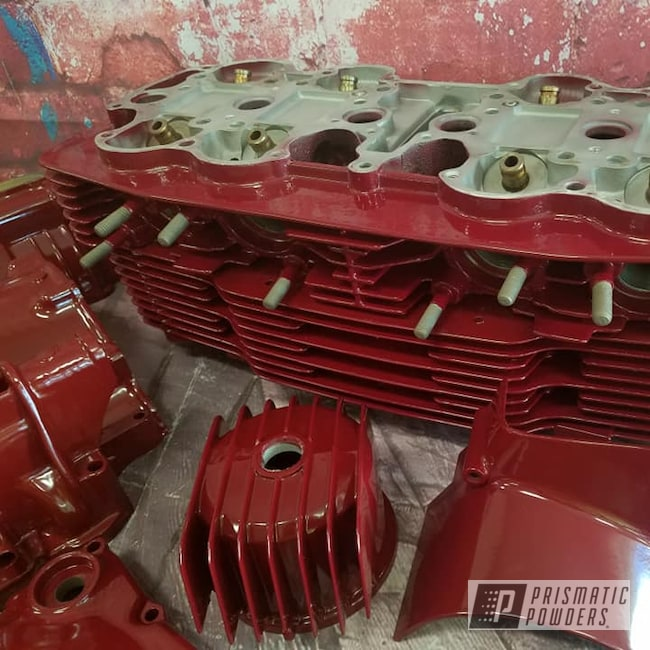 Powder Coating: Automotive,Clear Vision PPS-2974,Oxblood Red PSB-5896,Honda Motorcycle,Honda,Motorcycle Engine,Custom Motorcycle,Motorcycles,Engine Parts,Honda Engine,Motorcycle Project