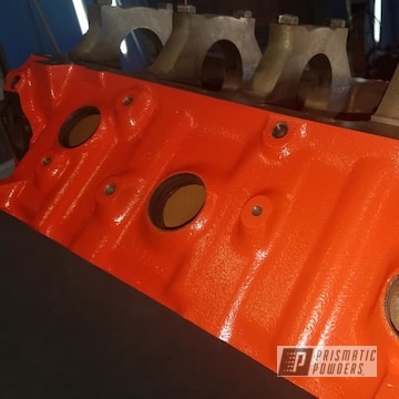 Powder Coated Refinished Chevy Engine Block In Pss-0163