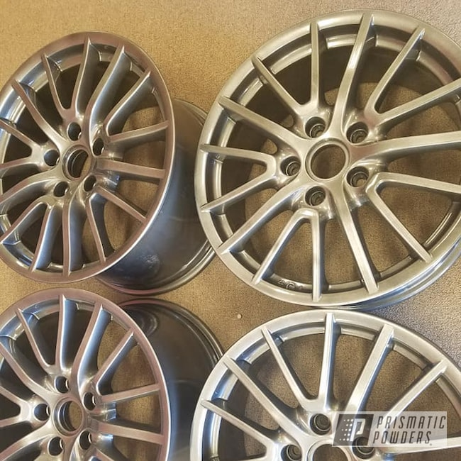 "Powder Coating: Wheels,19"" Wheels,19"",Automotive,Clear Vision PPS-2974,Two Stage Application,Aluminum Rims,Kingsport Grey PMB-5027,19"" Aluminum Rims"