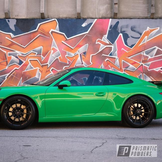 "Powder Coating: Automotive,Porsche 991,Brake Calipers,Porsche,20"",FLAT GOLD PMB-8102,Gold,20"" Wheel,911"