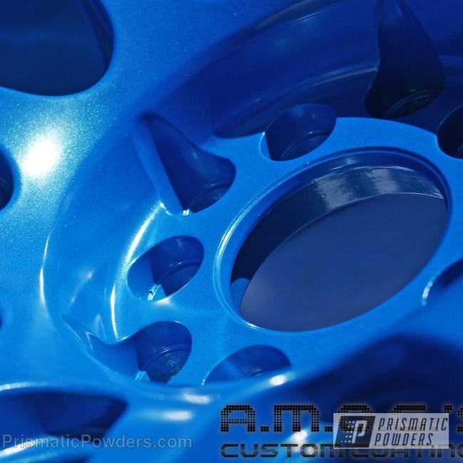Powder Coating: Wheels,Custom,Blue wheels,powder coating,SPARKS BLUE UMB-1809,powder coated,Prismatic Powders