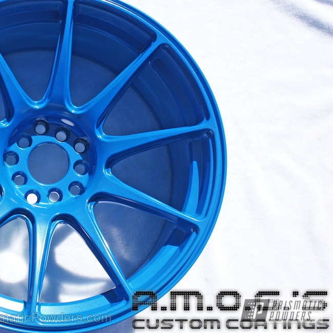 Powder Coating: Wheels,Custom,Blue wheels,powder coating,SPARKS BLUE UMB-1809,powder coated,Prismatic Powders