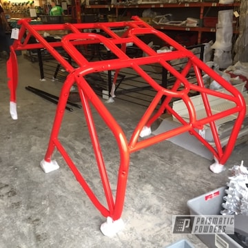 Powder Coated Bright Red Jeep Roll Cage
