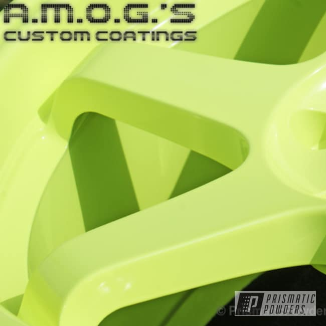 Powder Coating: Wheels,Custom,powder coating,Neon Yellow PSS-1104,powder coated,Prismatic Powders,yellow