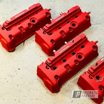 Powder Coated Red Honda Valve Covers