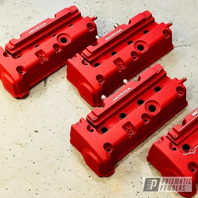 Powder Coating: Automotive,Valve Covers,Honda,Desert Red Wrinkle PWS-2762,Si Wheels,k20