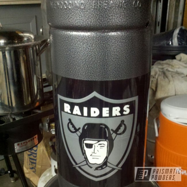 Powder Coating: Custom,Pacific Silver PMB-2811,white,powder coating,powder coated,5 gallon beer keg,grey,Clear Vision PPS-2974,Black,vintage Raider logo,Prismatic Powders,Box White PSS-4320,Miscellaneous