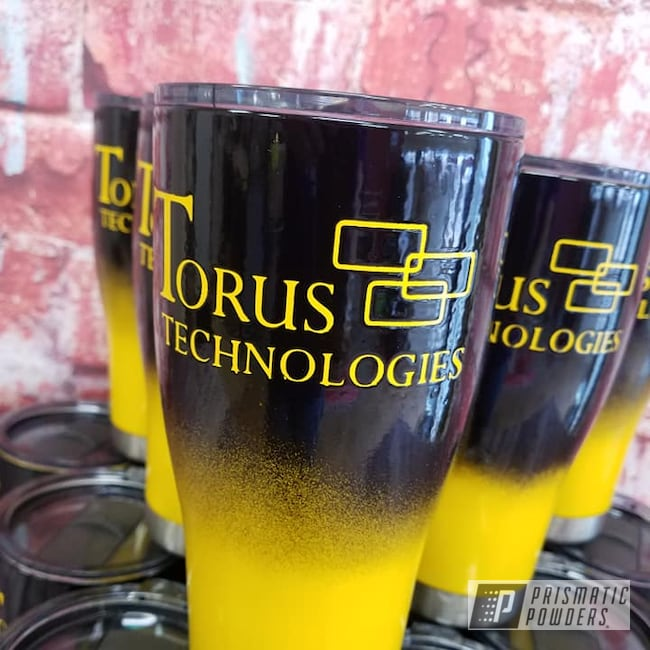 Powder Coating: Custom Cups,24oz Tumbler,Tumbler,Ink Black PSS-0106,Drinkware,Hogg Stainless Drinkware,RAL 1003 Signal Yellow