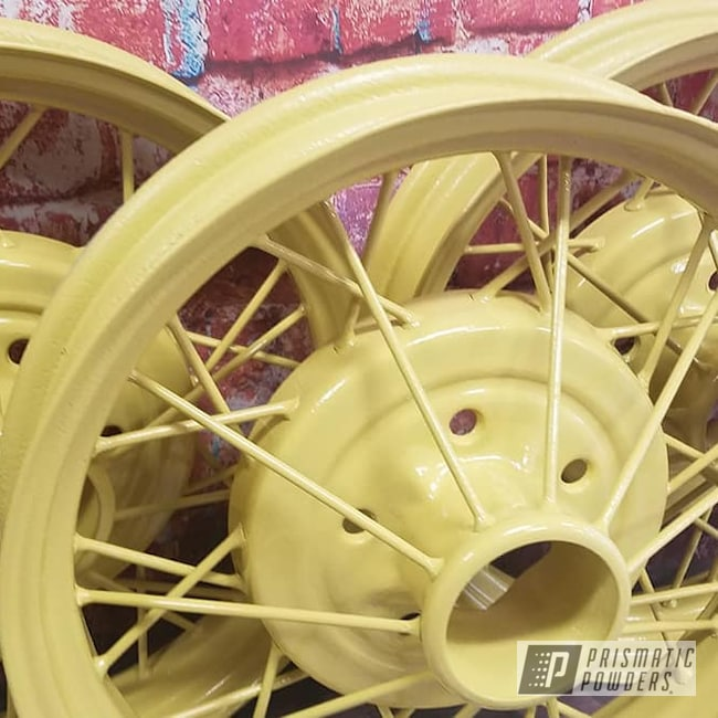 Powder Coating: Wheels,Model A Wheels,Automotive,Spoked Wheels,RAL 1002 Sand Yellow,Steel Rims