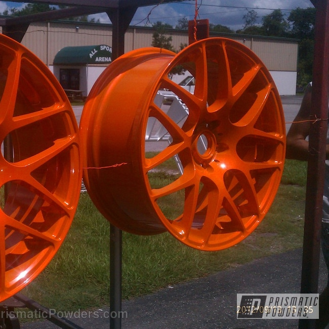 Powder Coating: Wheels,Custom,VW wheels,powder coating,powder coated,Prismatic Powders,Orange,Striker Orange PPS-4750