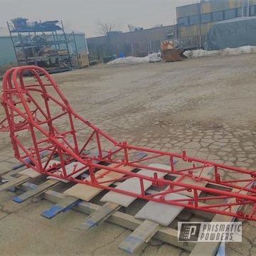 Powder Coated Red Drag Race Car Chassis