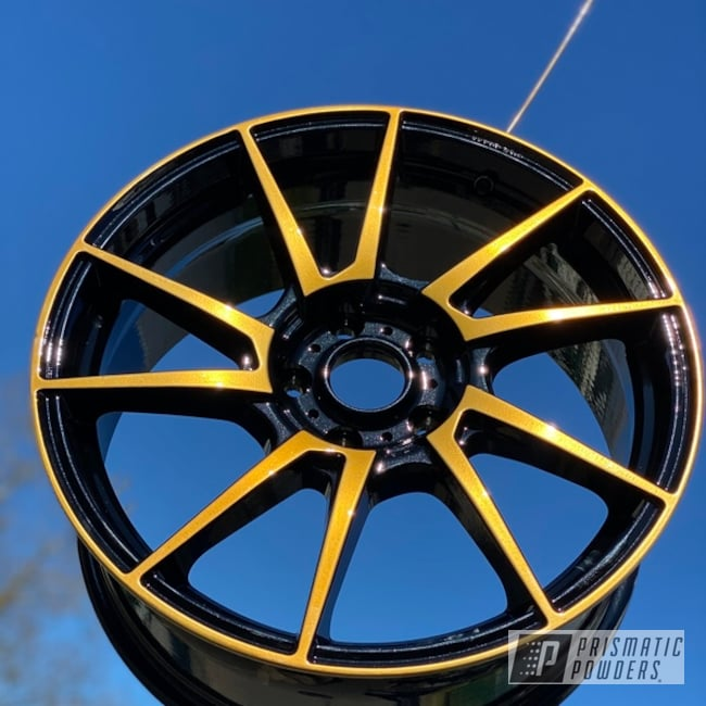 Powder Coated Black And Gold Two Toned 18 Inch Aluminum Wheels