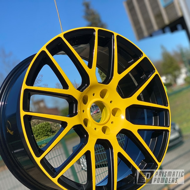 """Powder Coating: Wheels,19"""" Wheels,19"""",Automotive,Clear Vision PPS-2974,2 Color Application,Ink Black PSS-0106,Yes Yellow PSS-5691"""