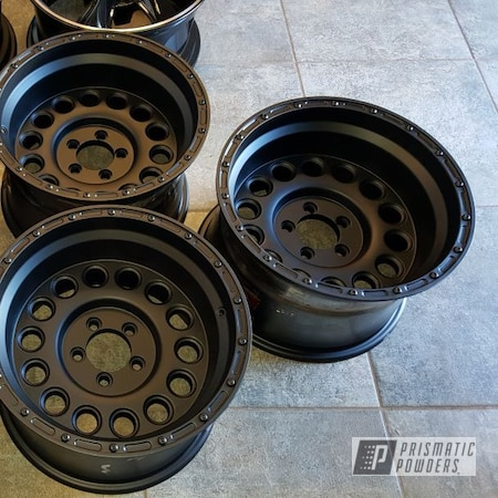 "Powder Coating: Automotive,Jeep Rim,BLACK JACK USS-1522,matte black,Jeep,blackjack,Jeep Wheels,15"" Wheel,Black Wheels"