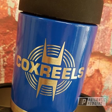 Powder Coated Blue Custom Can Koozies
