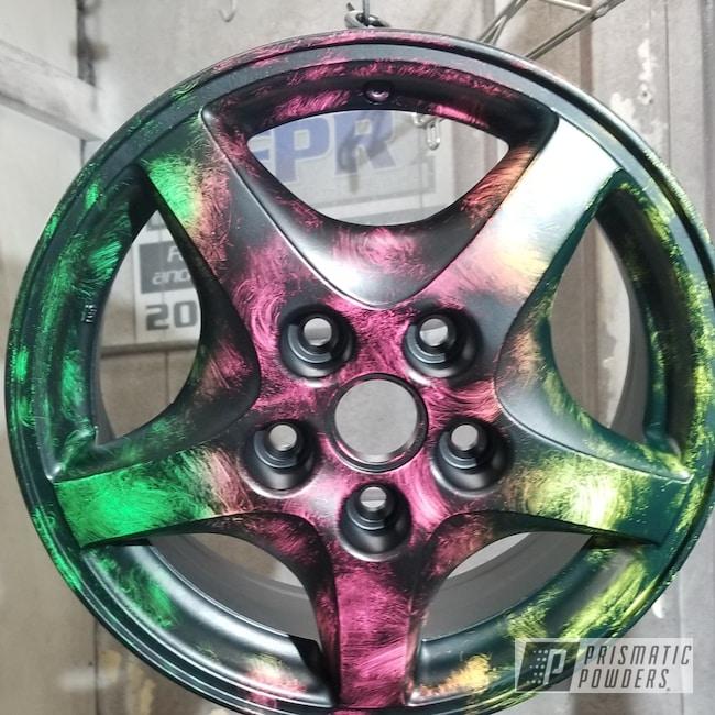 Powder Coating: Wheels,Automotive,Custom Rims,Neon Yellow PSS-1104,Sassy PSS-3063,Neon Green PSS-1221