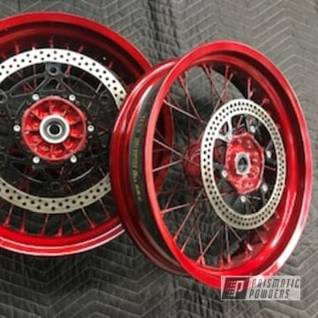 Powder Coated Red Spoked Motorcycle Rims