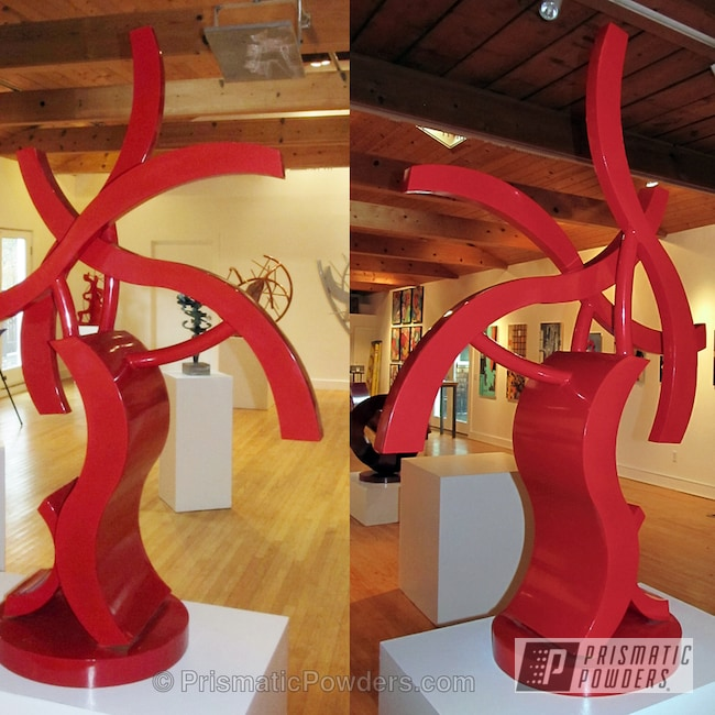 Powder Coating: Custom,Fire Red PMB-4195,Typesetter Sculpture,red,powder coating,powder coated,Prismatic Powders,Art