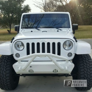 Powder Coated White Jeep Front Bumper