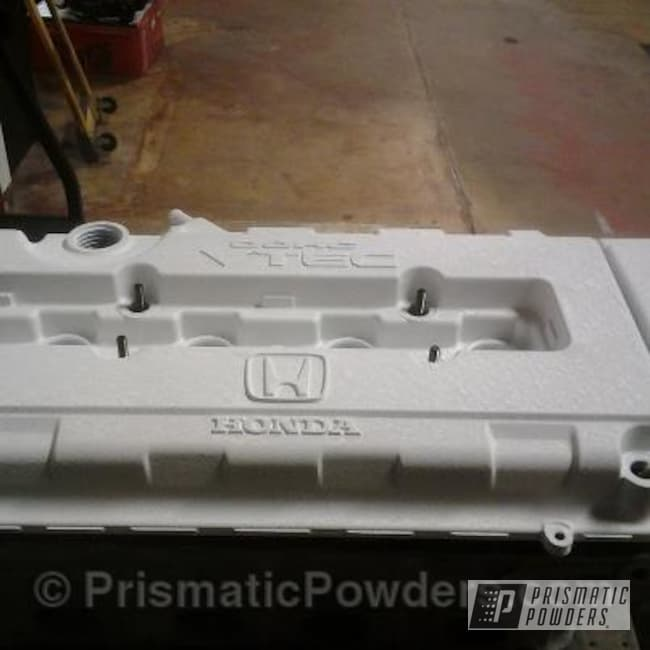 Powder Coating: Custom,Automotive,White,Honda,Desert White Wrinkle PWS-2763,powder coating,powder coated,Prismatic Powders,Valve Cover