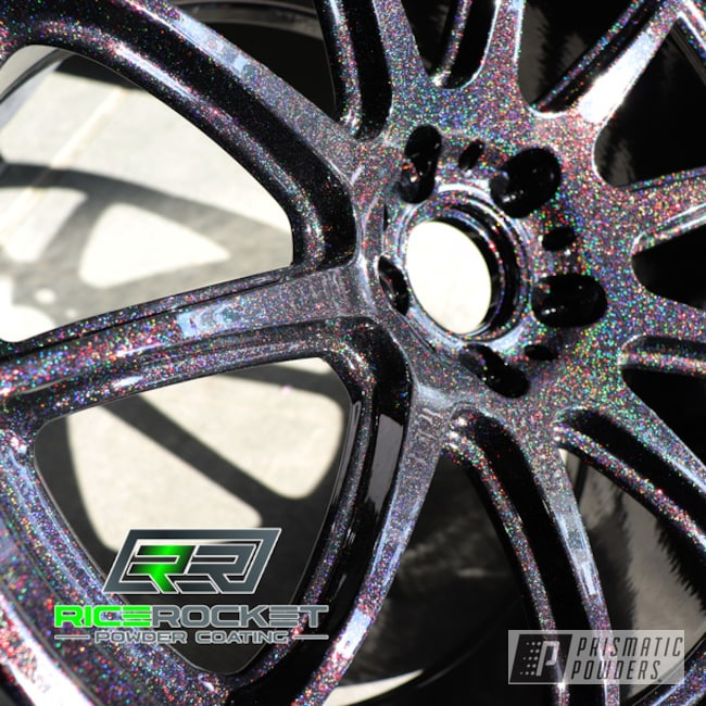"Powder Coating: Subaru WRX,Subaru STI,Ink Black PSS-0106,powder coating,Fire Lights PPB-5411,Powder Coated Wheels,Subaru,Prismatic Powders,18"" Aluminum Wheels,Aluminum Wheels"