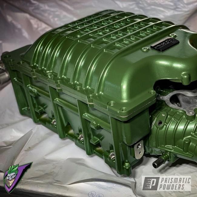 Powder Coating: Calypso Green PMB-1961,Hellcat Redeye,Dodge,JEEP Trackhawk,Dodge Supercharger,Car Parts,Dodge Demon,Supercharger,Hellcat Challenger,Jeep,Challenger,Demon,IHI Supercharger