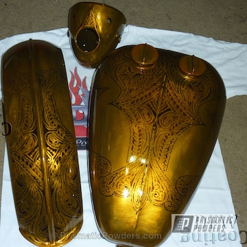 Motorcycle Tank / Fenders Done In A Multi-coat Transparent Brass Finish