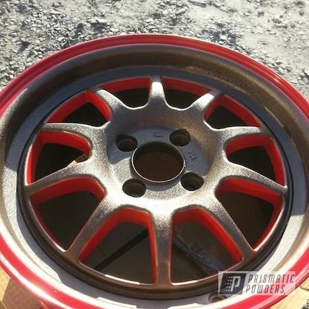Powder Coating: Passion Red PSS-4783,Splatter Rockwell Bronze PWB-2883,Wheels,Custom,Bronze,Red,powder coating,powder coated,Prismatic Powders,Rota's 15'
