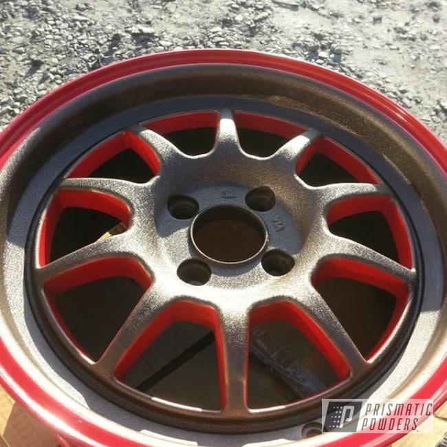 Powder Coating: Splatter Rockwell Bronze PWB-2883,Wheels,Custom,Passion Red PSS-4783,Bronze,Red,powder coating,powder coated,Prismatic Powders,Rota's 15'