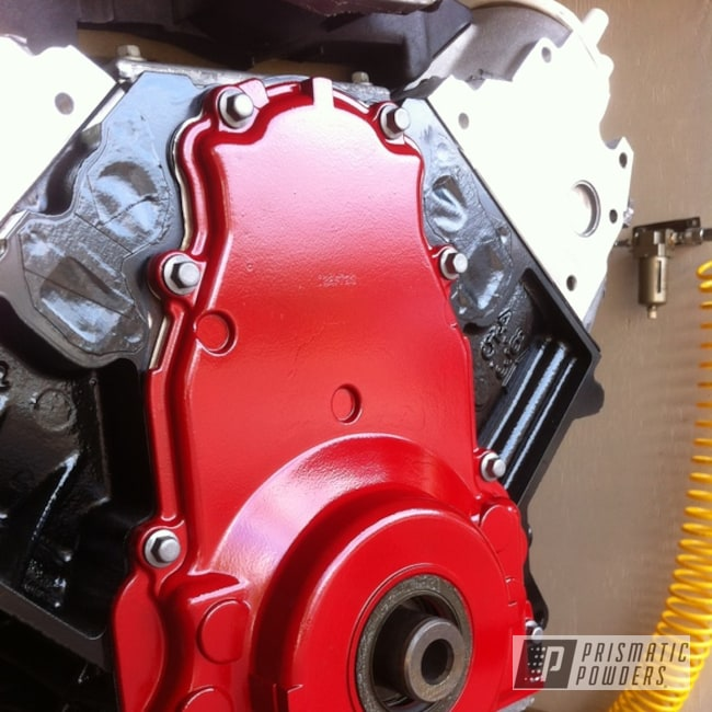 Powder Coating: Custom,Automotive,Ritzy Red PSS-2993,Red,LS Engine Timing Chain Cover,powder coating,Engine Components,powder coated,Prismatic Powders