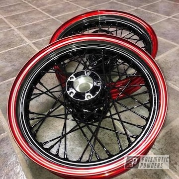 Powder Coated Spoked Motorcycle Wheels